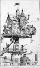 Aerial House french sci fi writer Albert Robida for his book Le Vingieme Siecle