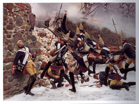 Storming of the breach by Prussian troops during the Battle of Leuthen, 1757, Carl Röchling